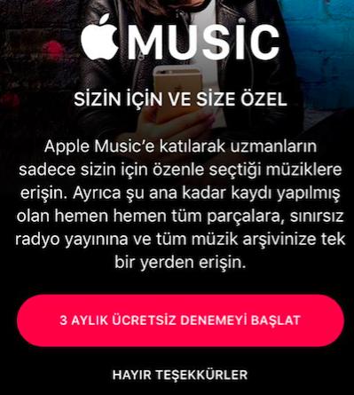 Apple music Turkiye uyglamasi