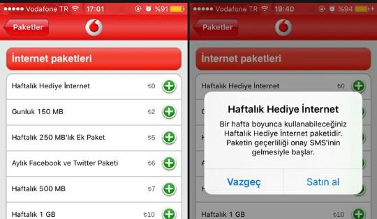 Vodafone 2 GB hediye