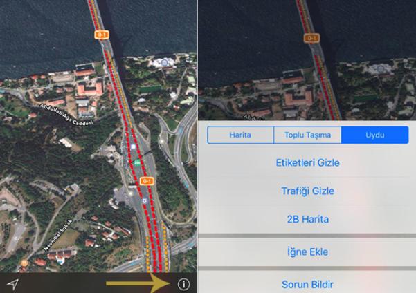 Apple,Türkiye için trafik bilgisi Servisini Aktif Etti