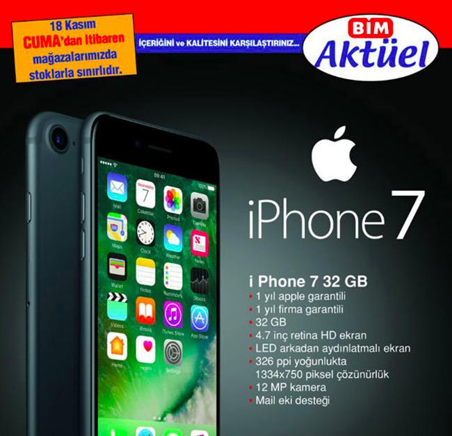 Bim'de iPhone 7 Satılacak işte Fiyatı