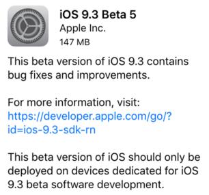 iOS 9.3 beta 5 resim