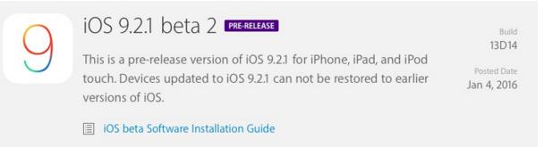 iOS9.2.1 beta 2