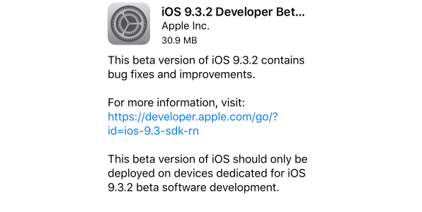 ios 9.3.2 beta 3 yayinlandi