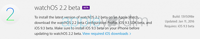 watchOS 2.2 Beta 2