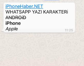 whatsapp yazı karakteri
